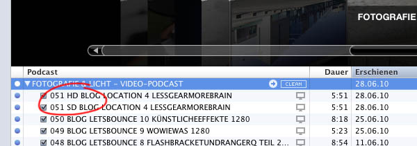 HD SD VIDEO PODCAST Vergleich Fotos
